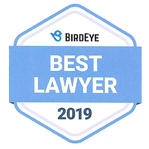 This is a graphic image of  the BirdEye 2019 Best Lawyer Award. BirdEye is a review and reputation management service.